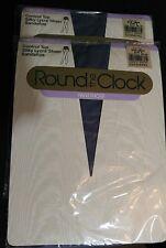 2 Pair Vintage Round The Clock Pantyhose Blue Smoke Control Top Sandaltoe  NIP
