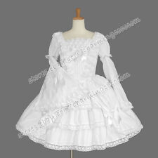 Reenactment Gothic Lolita Punk Victorian Classic White Graceful Dress Costume