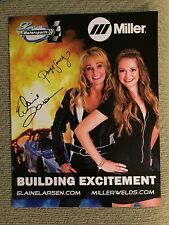 Elaine Larsen & Paige Sanchez Signed Promo Hero Card 2015 Jet Drag Racing