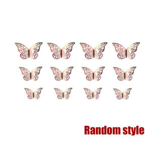 12 Rose Gold Butterfly Wall Stickers, 3D Decals Room Decorations Decor New