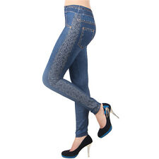 New Womens Denim Look Slim Leggings Jeans Jeggings Stretchy Skinny Trouser Pants