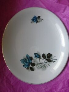 """Crown Clarence Staffordshire 10"""" × 11.5"""" Blue Rose Plate"""