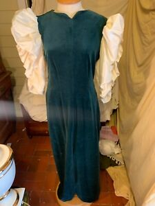 VTG Victor Costa COUTURE FORMAL ❤️ 80's Green Velvet Dress w/ Puff Sleeves SZ M