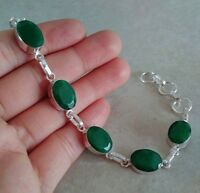"""NATURAL OVAL RICH GREEN EMERALD 925 STERLING SILVER LINK CHAIN BRACELET 7.5"""""""