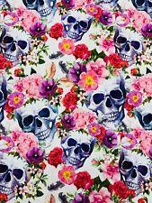 Baumwolljersey Totenkopf Skull Blumen Meterware Ab 50 cm 6,95 € Oeko-Tex® Stoff