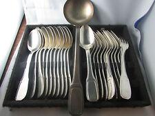 ancienne menagere 12 cuilleres fourchettes metal argenté poinconne art deco 1950