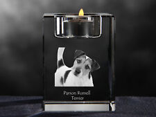 Parson Russell Terrier, crystal candlestick with dog, Crystal Animals Usa