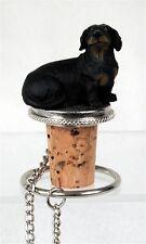 DACHSHUND Black Dog Hand Painted Resin Figurine Wine Bottle Stopper