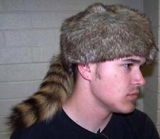 ADULT REAL RACCOON TAIL HAT fur caps animal daniel boone rendevous pelt costume