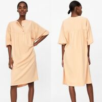 Zara Womens Tan 3 Button Front Oversized A Line Puff Sleeve Shirt Dress Size S