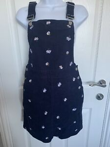 TU Needle Cord Pinafore  Navy Floral Ditsy Dress Size 8 Corduroy