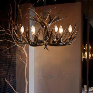 Black Resin Deer Horn 4/6/9 Candle Lights Ceiling Pendant Lights Chandelier Loft