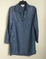 Anthropologie Cloth & Stone Small Blue Chambray Long Sleeve Dress With Pockets