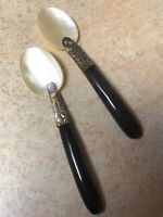 Vintage Caviar Spoons Pair Mother Of Pearl White Metal Antler Handles Retro Old