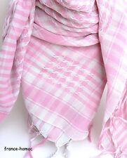 KEFFIEH classique  ROSE&BLANC  105x105cm       écharpe, chèche,scarf,foulard