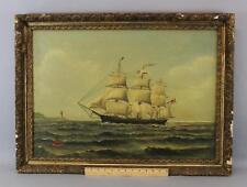 Antique Maritime Oil Painting, REPORTER Clipper Ship Cotton Trade & Cape Horn