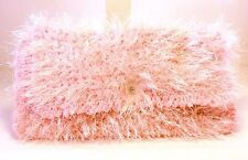 FUZZY BALLET PINK HAND CROCHETED KNIT PURSE CLUTCH BAG HANDBAG POLKA DOT LINING