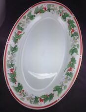 """Lynns St Maria 14"""" Holiday Platter China Holly Red Berries Christmas Entertainin"""