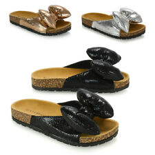 Womens Flat Slide On Sandals Summer Bow Sliders Ladies Holiday Mules Size 3-8