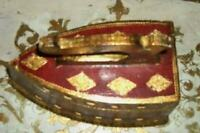 ITALIAN FLORENTINE GILT RED WOOD BOX FRENCH FARMHOUSE ANTIQUE IRON SHAPE RARE