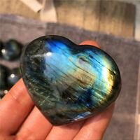 Charm Natural rainbow labradorite heart quartz crystal carved reiki healing Gift