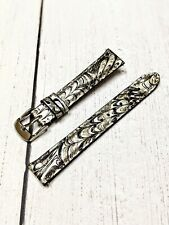 """NOS Ladies Fashion Watch Strap Band 16mm - Silver """"Peacock"""" Snake Quick Release"""