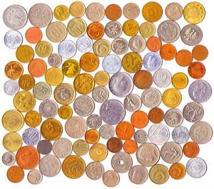 LOT OF 100 DIFFERENT (2/3 POUND) FOREIGN WORLD COINS COLLECTION + COIN PURSE!
