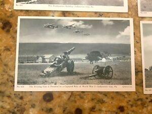 Lot of 9 Postcards INDIANTOWN GAP, Pa. US Army WW 2 II Training Buy War Bonds