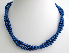 Necklace Dark Blue Pearl  Navy Blue Bridesmaid Jewelry,Christmas Jewelry