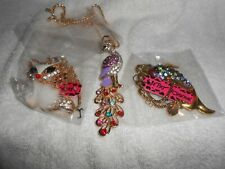 Betsey Johnson Fox, Fish, Peacock Set of 3 Necklace Pendant NWT