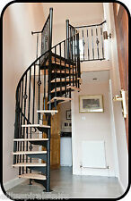 Traditional Spiral stairs in Hardwood & Wrought iron. 1370mm dia.Cheap staircase