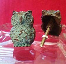 SET 2 SHABBY IRON GREEN TEAL OWL KNOBS HANDLES HARDWARE DRESSER FURNITURE CHIC