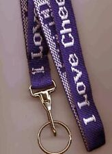 Cheerleader Woven I Love Cheerleading Purple Lanyard with Ring 3/4 in x 34 inch