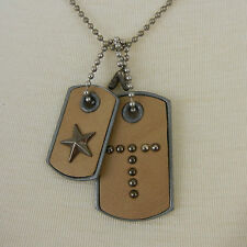 NEW Mens Womens Letter  K M T Leather Dog Tags $30 NWT Gray Tan Brick KH STUDIO