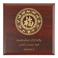 Lunar Serie II Münzbox / Box / Etui / Münzkassette für 12x 1/20 Oz Gold - HOLZ