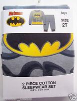 BATMAN Toddler Boys 2T Two Piece Long Sleeve PJ's Pajamas NWT All Cotton