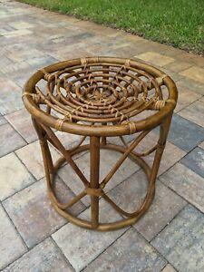 Vintage Retro Bamboo Bentwood Rattan Side table, ottoman, seat   Boho  Round