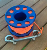 Scuba Diving 30m Aluminium Finger Spool Reel Blue with Double Snap Bolt