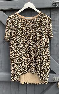 Zara Animal Print Dip Hem T Shirt Size Large 14-16 New With Tags