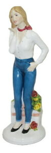 "Aynsley Figurine Girl In Blue Jeans Statue 9"" Bone China Modern Made In England"
