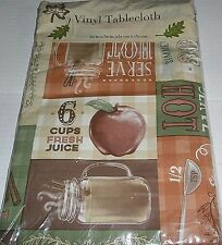 "Fall/Thanksgiving Vinyl Tablecloth 52"" x 52"" Spiced Apple Cider Seats 4"
