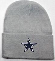 READ LISTING! Dallas Cowboys HEAT Applied Flat Logo on Beanie Knit Cap hat!!