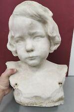 Ancien Buste en Platre signé LUCIEN SCHNEGG (1864-1909)  . Sculpture d Enfant