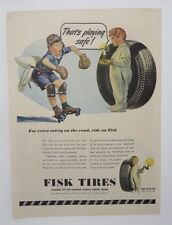 Original Print Ad 1945 FISK TIRES That's Playing It Safe Boy