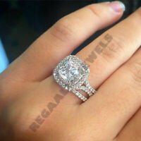 solid 14k white gold 2ct diamond cushion cut bridal set engagement ring band wed