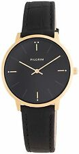 Pilgrim Jewellery Black & Gold minimal ladies Designer Leather Watch in Gift Box