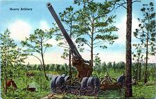 1940 WW2 Heavy Artillery Soldiers Military Postcard GI