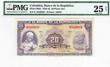 COLOMBIA  BANKNOTES $20 1944 PMG CERTIFIED 25 NET VERY FINE