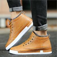 Men's Winter Casual Fleece Lined Warm High Top Lace Up Snow Boots Sports Shoes