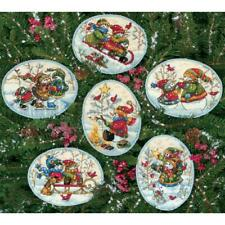 Dimensions Gold Collection Counted Cross Stitch Kit 6 Playful Snowmen Ornaments